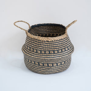 Natural Seagrass Belly Basket - Tribal Black & Natural