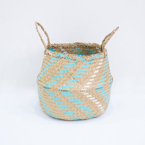 Natural Seagrass Belly Basket - Arrow Turquoise & White