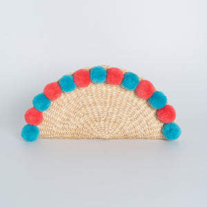 Water Hyacinth Clutch Halfmoon with Pompom