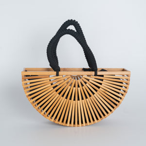 Bamboo Hand Bag Halfmoon - with Black Strap