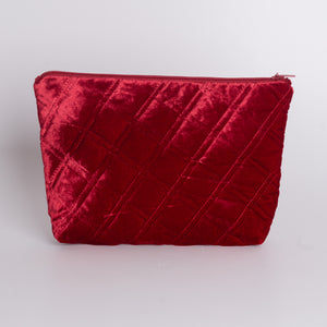 Quilted Silk Velvet Cosmetic Bag