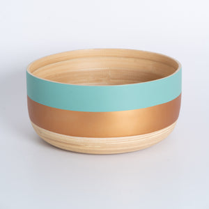 Bamboo Salad Bowl - Gold & Turquoise