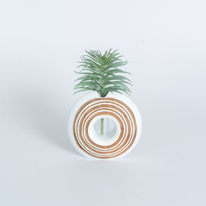 Mango Wood Vase - Donut White