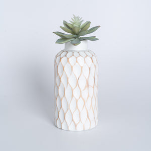 Mango Wood Vase - Polka Dot Medium