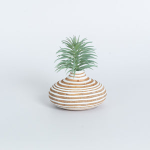Mango Wood Vase - Pumpkin White