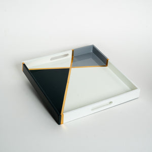 Square Lacquer Tray - Crossing Lines