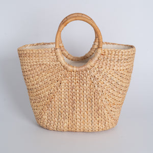 Water Hyacinth Hand Bag Trapezoid - Medium Natural