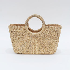 Water Hyacinth Hand Bag Trapezoid - Short Natural