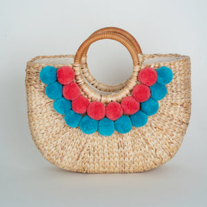 Water Hyacinth Hand Bag with Pompom