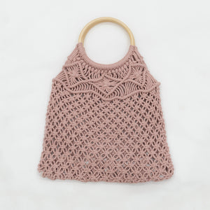 Boho Macrame Hand Bag with Wooden Handle - Diamond Pink