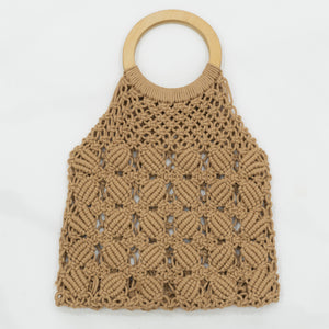 Boho Macrame Hand Bag with Wooden Handle - Floral Brown