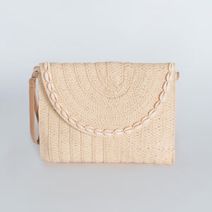 Straw Clutch Bag Rectangular - Natural Seashell Rim