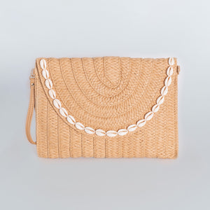 Straw Clutch Bag Rectangular - Tan Seashell Rim