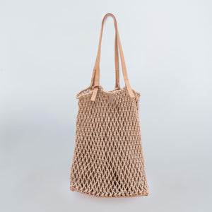 Boho Macrame Tote Bag with Vegan Leather Strap