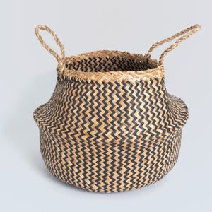 Natural Seagrass Belly Basket - ZigZag Black & Natural