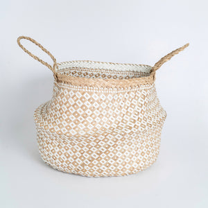 Natural Seagrass Belly Basket - Checker White & Natural