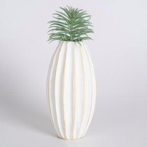 Mango Wood Vase - Bold Stripe Medium
