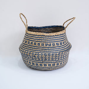 Natural Seagrass Belly Basket - Tribal Navy & Natural