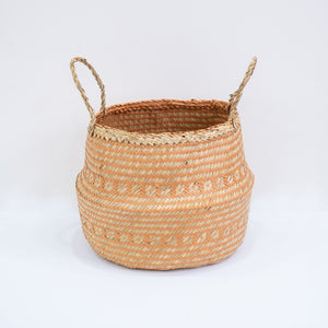 Natural Seagrass Belly Basket - Tribal Orange & Natural