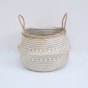 Natural Seagrass Belly Basket - Tribal White & Natural