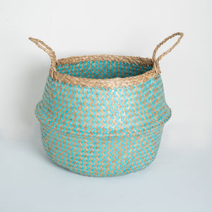 Natural Seagrass Belly Basket - ZigZag Turquoise & Natural