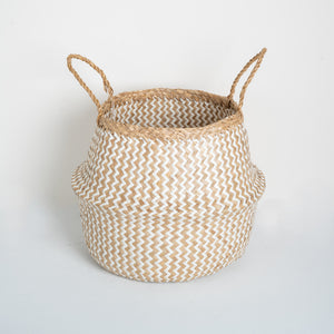 Natural Seagrass Belly Basket - ZigZag White & Natural