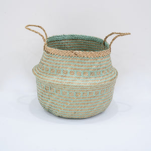 Natural Seagrass Belly Basket - Tribal Mint & Natural
