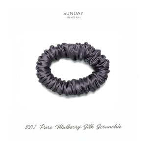 Mulberry Silk Skinny Scrunchie - Charcoal