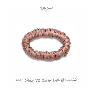 Mulberry Silk Skinny Scrunchie - French Rose