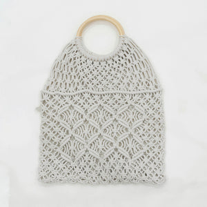 Boho Macrame Hand Bag with Wooden Handle - Eye Cream