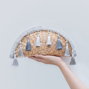 Water Hyacinth Clutch Halfmoon with Tassel