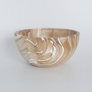 Mango Wood Bowl - Marble Round Medium