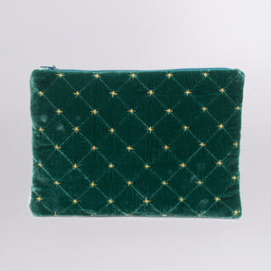 Quilted Silk Velvet Clutch with Gold Stiches
