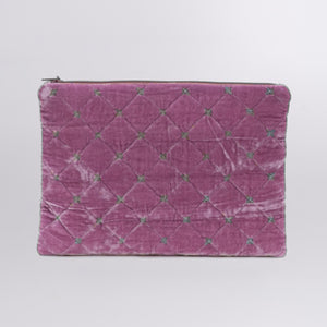 Quilted Silk Velvet Clutch with Green Stiches