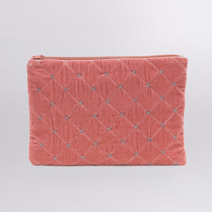 Quilted Silk Velvet Clutch with Silver Stiches