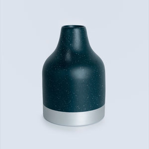 Speckled Bamboo Vase - Dark Green & Silver