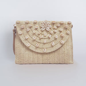 Straw Clutch Bag Rectangular - Natural Seashell Sun