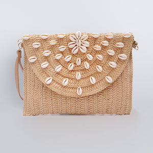 Straw Clutch Bag Rectangular - Tan Seashell Sun