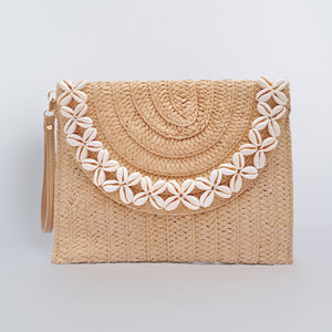 Straw Clutch Bag Rectangular with Diamond Seashell