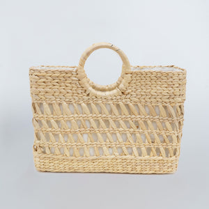 Water Hyacinth Hand Bag Rectangular - Half Net Natural