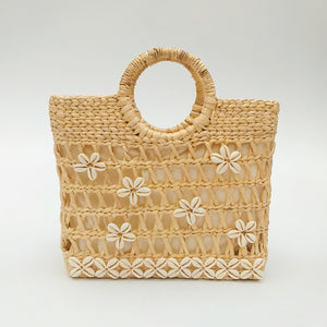 Water Hyacinth Hand Bag Rectangular - Half Net Natural with Seashell
