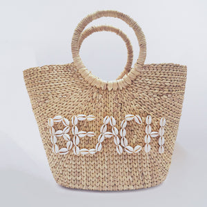 Water Hyacinth Hand Bag Trapezoid - Beach Seashell