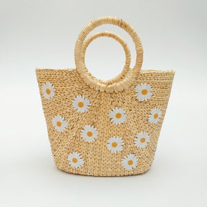 Water Hyacinth Hand Bag Trapezoid - Medium Natural with Daisies