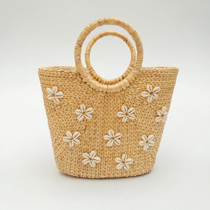 Water Hyacinth Hand Bag Trapezoid - Medium Natural with Seashell