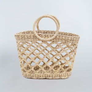 Water Hyacinth Hand Bag Trapezoid - Net Natural