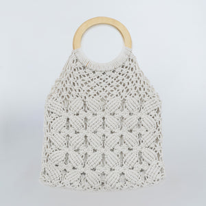 Boho Macrame Hand Bag with Wooden Handle - Floral Cream