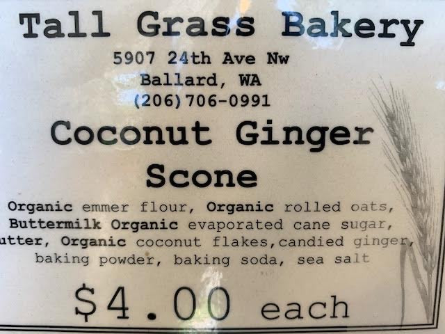 Tall Grass Bakery Coconut Ginger Scone