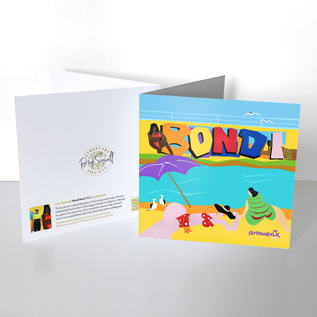 Square Greeting Card - Bondi Pool - mynameisLK