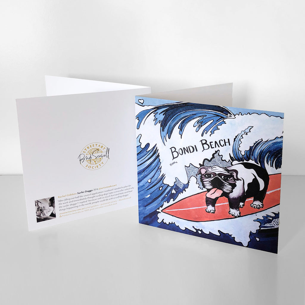 Bondi graffiti gift card souvenir, surfing dog, bulldog