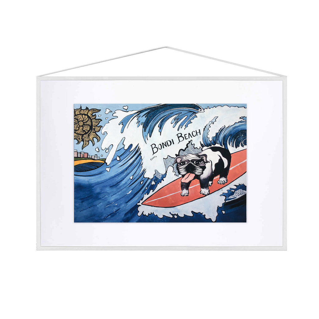 Bondi graffiti fine art print, kids, room, surfing dog, coastal art